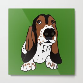 A Dog Mom and Her Basset Hound Metal Print