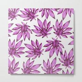 Tropical leaves pattern - purple / violet / pink Metal Print