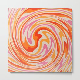 70s Retro Swirl Color Abstract Metal Print