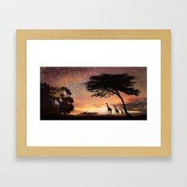 Purple Safari Sunset- giraffe family Framed Art Print