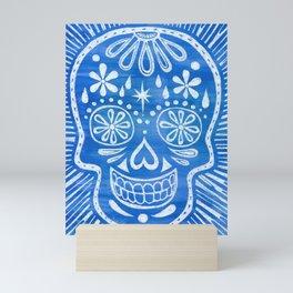 Cobalt Blue Watercolor Sugar Skull Mini Art Print