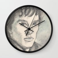 sherlock Wall Clocks featuring Sherlock by Pendientera