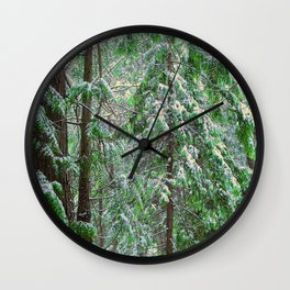 SUNSET SNOW IN CEDARS Wall Clock