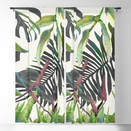 Watercolor Plants II Blackout Curtain