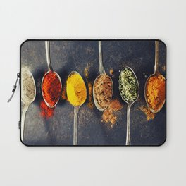 Colorful spices in metal spoons Laptop Sleeve