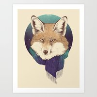 fox Art Prints featuring Fox by Laura Graves