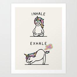 Inhale Exhale Unicorn Art Print