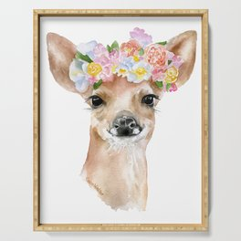 Deer Fawn Floral Watercolor Serving Tray