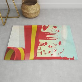 Spain Element on Flag with sky background Rug