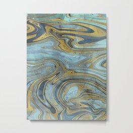 Liquid Teal and Gold Metal Print