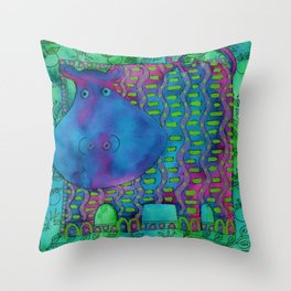 Patterned Hippo  Throw Pillow