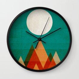 Full moon over Sahara desert Wall Clock