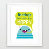 be happy Framed Art Prints featuring Happy by Maria Jose Da Luz