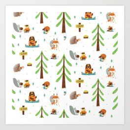 Woodland Campers Pattern Art Print