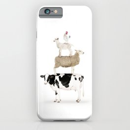 Four Stacked Farm Animals iPhone Case