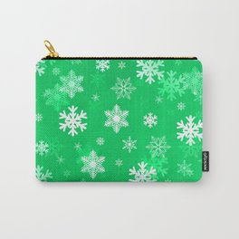Light Green Snowflakes Carry-All Pouch