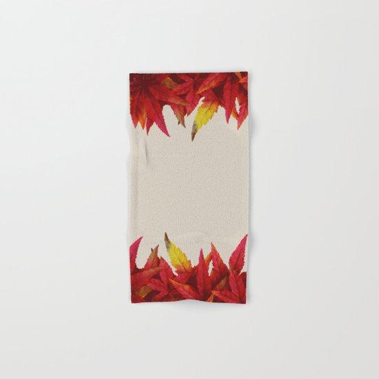 Autumn leaves (light grayish orange background) Hand & Bath Towel