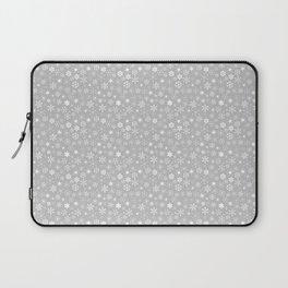 Silver & White Christmas Snowflakes Laptop Sleeve