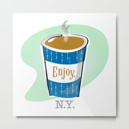Vintage NYC Diner Coffee Cup Metal Print