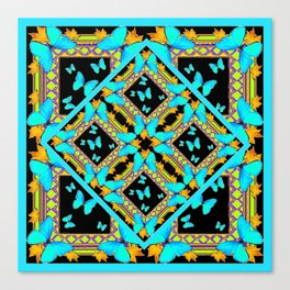 Decorative Western Style Turquoise Butterflies  Black Gold Patterns Canvas Print