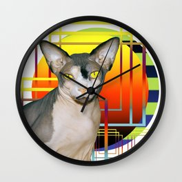 Vamp Sphynx Cat (white) Wall Clock