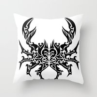 cancer Throw Pillows featuring Cancer by Mario Sayavedra