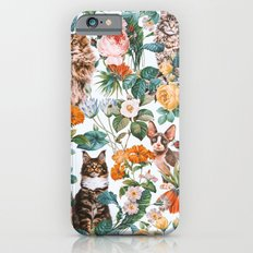 Cat and Floral Pattern III Slim Case iPhone 6