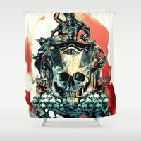 thrones Shower Curtains featuring THE KING V by RIZA PEKER