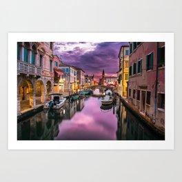 Venice Canal at Sunset Art Print