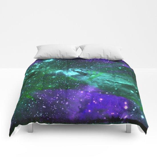 Aqua N Amethyst Space Flower Comforters