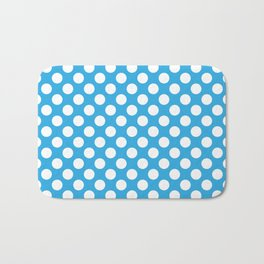 White Polka Dots with Blue Background Bath Mat