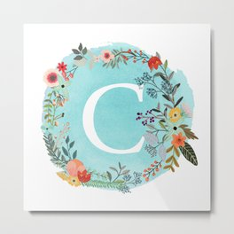 Personalized Monogram Initial Letter C Blue Watercolor Flower Wreath Artwork Metal Print