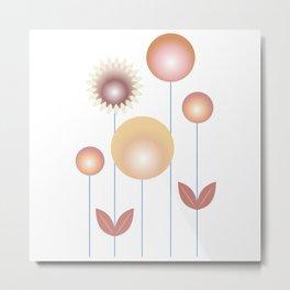 minimalist geometric abstract flowers in gold ochre brown Metal Print