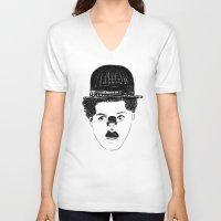 charlie chaplin V-neck T-shirts featuring Charlie Chaplin by creaziz