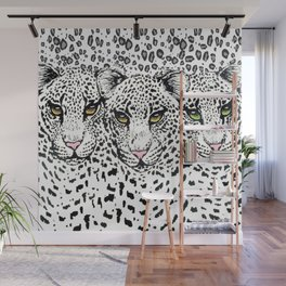 THREE SNOW LEOPARDS Wall Mural