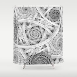 GET LOST - Black and White Spiral Shower Curtain