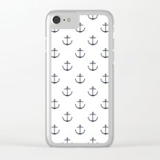 Yacht style. Anchor. Navy blue & white. Clear iPhone Case