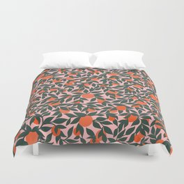 Oranges and Leaves Pattern - Pink Duvet Cover