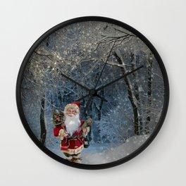 Santa claus in snowy landscape digital illustration Wall Clock