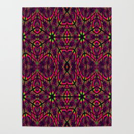 Magenta Neon Green Psychedelic Pattern Poster