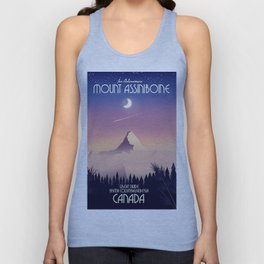Mount Assiniboine Canada travel poster Unisex Tank Top