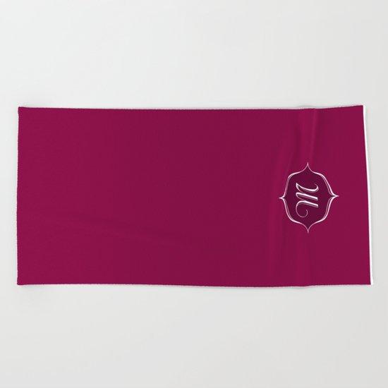 M Monogram Burgundy Beach Towel