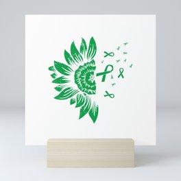 Sunflower Kidney Disease Mental Health Scoliosis Ribbon Gift T-Shirt Mini Art Print
