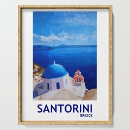 Santorini, Greece - View from Oia Retro Poster Serving Tray