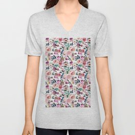Hand painted blush pink purple watercolor floral Unisex V-Neck