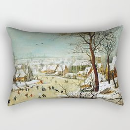 "Pieter Bruegel (also Brueghel or Breughel) the Elder ""Winter landscape with skaters and bird trap"" Rectangular Pillow"