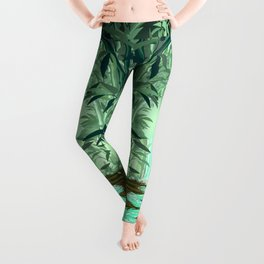 Fluorescent Waterfall on Surreal Bamboo Forest Leggings
