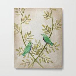 Teal Birds Metal Print