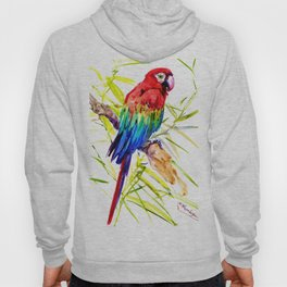 Parrot Scarlet Macaw, Tropical Birds, Jungle Red, Green Blue bright colored tropical artwork Hoody