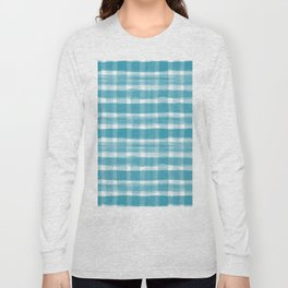 Watercolor Brushstroke Plaid Pattern Pantone Barrier Reef 17-4530 Long Sleeve T-shirt